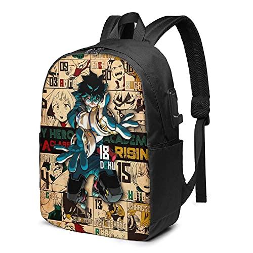 XCNGG Mein he-ro-ac-ademia Rucksack Schultasche Büchertaschen Business Daypack Laptoptasche Reiserucksack Trendiger vielseitiger Rucksack 17 Zoll mit USB-Anschluss für Erwachsene Frauen Männer Jugend