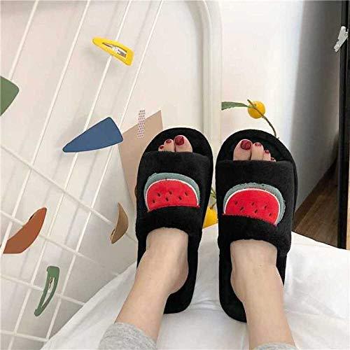 MQQM Memoria Zapatillas De Estar Al Aire Libre,Zapatillas de rocío Transpirables Antideslizantes, algodón de Frutas de Dibujos Animados Drag-Black_36-37,Memoria Zapatos con Antideslizante