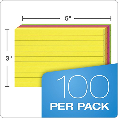 """Oxford Neon Index Cards, 3"""" x 5"""", Ruled, Assorted Colors, 100 Per Pack, Sold as 5 Pack, 500 Cards Total (40279) Photo #5"""