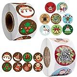 1000 pegatinas de regalo de Navidad Kraft para árbol de Navidad, pegatinas de regalo, reno, feliz Navidad vacaciones etiquetas pegatinas para decoración de Navidad, manualidades, 3,8 cm 2,5 cm