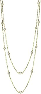Handmade 14K Yellow Gold Station Necklace With 1.50 Carats of Diamonds 32-36 Inches