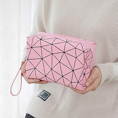 Femmes Sac cosmétiques Voyage Multifonctions Sacs de Maquillage géométrique Waterproof Portable de Toilette Organisateur Maquillage Cas (Color : Pink)