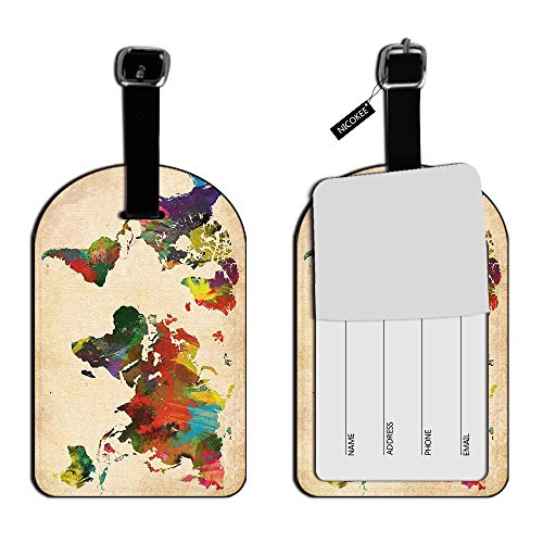 Nicokee Colorful Rainbow Map of the World Earth Globe Luggage ID Tags Cards Leather Travel Bag Labels Suitcase Luggage ID Tags