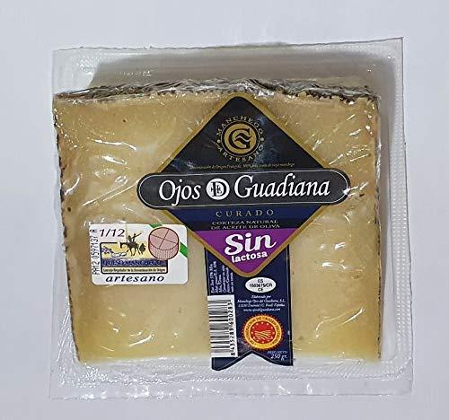 Queso Artesano D.O. Manchego Ojos del Guadiana - CURADO SIN LACTOSA - Cuña 250gr aprox.