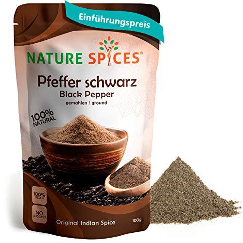 Schwarzer Pfeffer gemahlen | Aromatisch und scharf | Ideales Gewürz für Fleisch und feine Saucen | Premium Produkt aus Indien | 100g | von Nature Spices