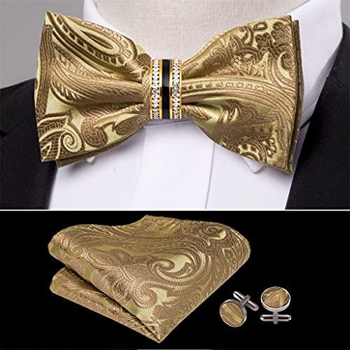 WODMB Lazo de lazo de seda de oro para los hombres accesorios de boda ajustable mariposa handky Diamante extraíble conjunto (Color : Gold, Size : One size)