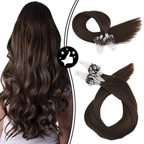Moresoo Micro Ring Hair Extensions Dunkelbraun 18 Zoll/45cm Micro Ring Haar 100% Echthaar Remy Haarverlängerung Glatt 1G/Stück 50G/Packung