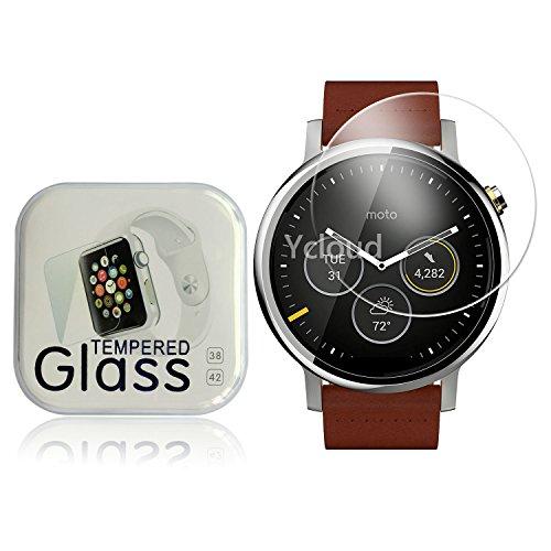 Ycloud Panzerglas Folie Schutzfolie Bildschirmschutzfolie für Motorola Moto 360 (2.Generation) Smartwatch, 46 mm screen protector mit Festigkeitgrad 9H, 0,26mm Ultra-Dünn, Abger&ete Kanten