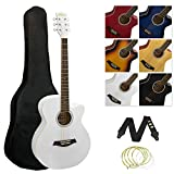 Tiger ACG3 Full Size Acoustic Guitar Package – Beginners Guitar Pack with Gig Bag, Strap and Spare Strings – White