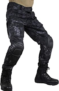 zuoxiangru Men's Multicam Tactical Trousers Multi-Pockets Military Camo Outdoor Airsoft Combat Hunting Pants with Knee Pads