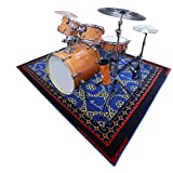 Aucuda Drum Rug Drum Mat Drum Carpet,Tightly Woven Fabric with Non-Slip Grip...