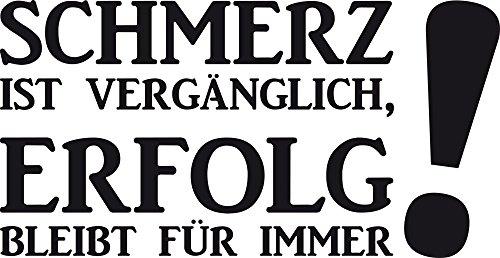 GRAZDesign Wandtattoo Schmerz Ist Vergänglich Wandspruch für Motivation Sportler Motivation, Fitness, Fitnessraum (58x30cm//070 schwarz)