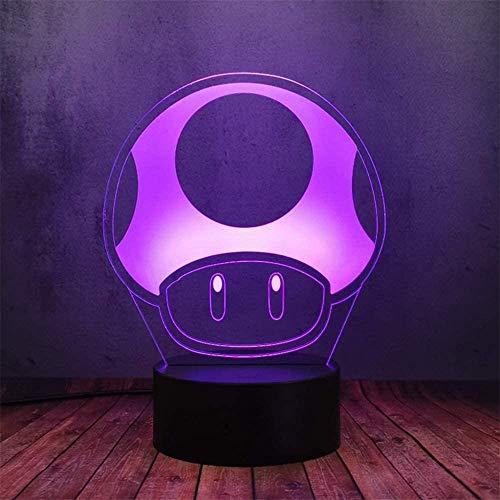 Luz nocturna 3D, lámpara de ilusiones con mando a distancia, 16 colores cambiantes USB LED lámpara de mesa decoración para niños Navidad Halloween cumpleaños seta mágica