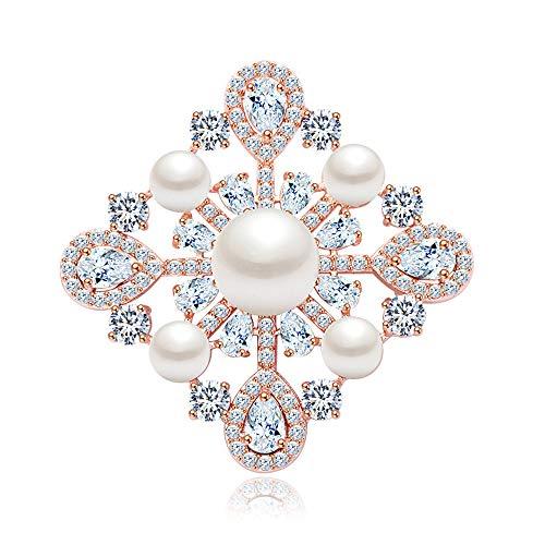KEKE Frauen Kristall Elegante Blumen Braut Corsage Brosche klare Farbe