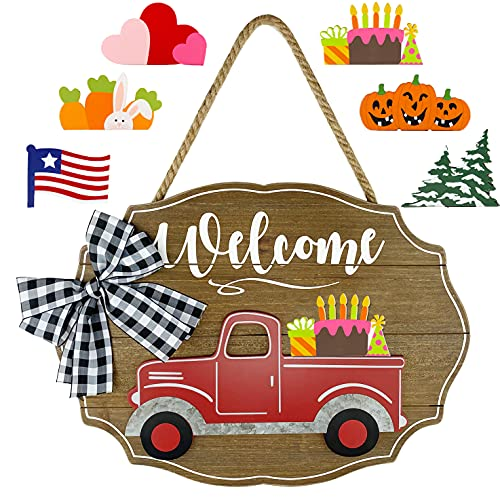 Winder Truck Welcome Sign for Front Door Decor, Red Truck Decor with Seasonal & Interchangeable Wooden Wall & Door Decor Sign for Holiday, Halloween, Christmas, National Day, Valentine, Easter & Cake