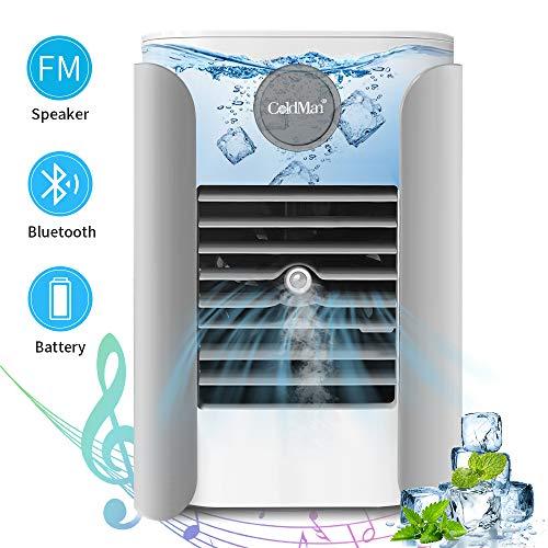 Mini Luftkühler, 5 in 1 Air Cooler Ventilator mit Wasserkühlung Luftbefeuchter Bluetooth Radio Funktion für zu Hause Büro Auto Reise Camping