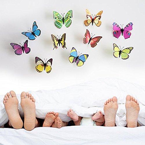 denoda® 3D Schmetterling Set - Bunt - Farbenfroh - 10 Stück (Wandsticker Wanddekoration Wohndeko Wohnzimmer Kinderzimmer Schlafzimmer Wand Aufkleber)