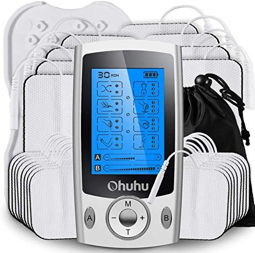 Ohuhu Electroestimulador Digital Masaje EMS TENS Portatil, 20 Modos 24 Pads 2 Canales Estimulador Muscular Recargable Masajeador Electro para Alivio del Dolor de Cervical Piernas Abdominal Espalda