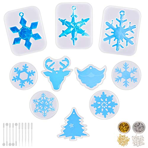 Whaline 10Pcs Silicone Christmas Mold Snowflake Xmas Tree Beard Reindeer Resin Mold with Tool Set and Glitter Foil for DIY Jewelry Pendant Soap Making Crafts Cupcake Decor, 72 Pack