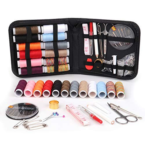 Mini Travel Sewing Kits for Adults, Beginners, DIY, Women, Sewing Lovers, Easy to Carry, Black/PU Package (5.7 in×5.7 inch×1.2 inch) from Mailida