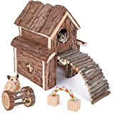 Elipark Small Animal Activity Toy Hamster Houses Hideouts Wooden Rat Playground Platform with Ladders Bridge for Chinchilla, Guinea Pigs, Gerbil, Parrots, Dwarf Mice,and Other Small Animals