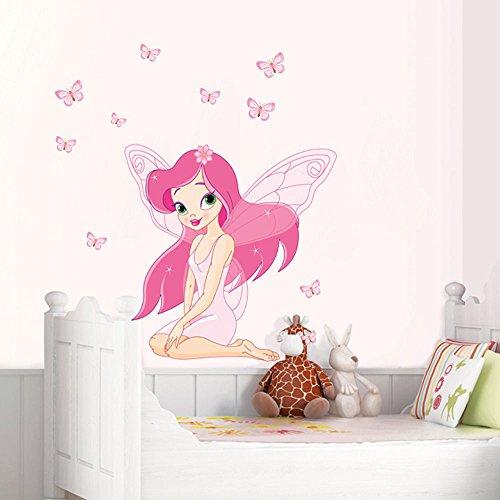 HALLOBO® Wandtattoo Fee Elfen Schmetterlinge Mädchen Wandaufkleber Prinzessin Wandsticker Kinderzimmer Mädchen Kinder Baby