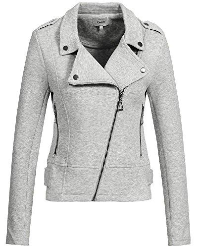 ONLY Damen Onlnew HIT Biker Jacket NOOS Sweatjacke, Grau (Light Grey Melange Light Grey Melange), 40 (Herstellergröße:L)
