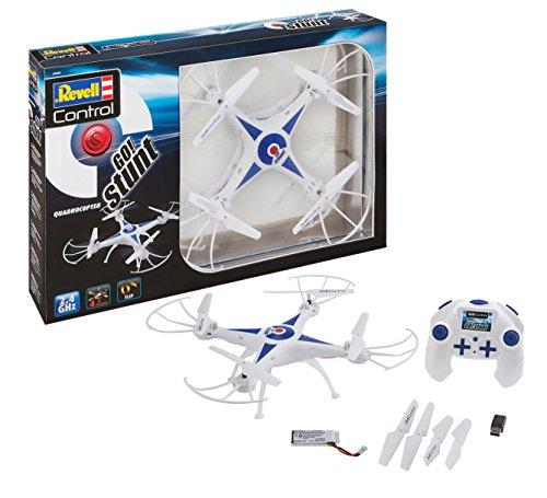 Revell Control 23842 RC Quadcopter GO! Stunt, für Einsteiger, 2.4GHZ, Akku, Flip-Funktion, Rotorschutz, LED, Headless-Mode, Geschwindigkeitsstufen, ferngesteuerter Quadrokopter, weiß, 31 cm