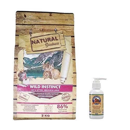 Natural Greatness Pienso para Gatos Sin Cereales Wild Instinct Gatitos y Adultos Saco 2 kg Incluye Aceite de Salmon Grizzly 125 ml | ANIMALUJOS (Saco 2 Kg + Aceite Salmón 125 ml)