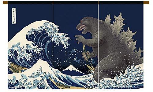 JAPANESE Noren Curtain Godzilla NAVY MADE IN JAPAN NEW