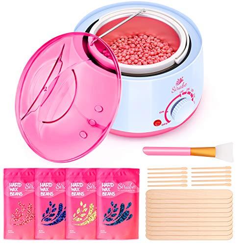 Waxing Set, Wachswärmer mit 4X100g Wachsperlen Wachs Haarentfernung, Wax Wärmer Wachsbohnen Waxing kit, Warmwachsgerät Wax enthaarung schmerzfrei - einfach und schnell