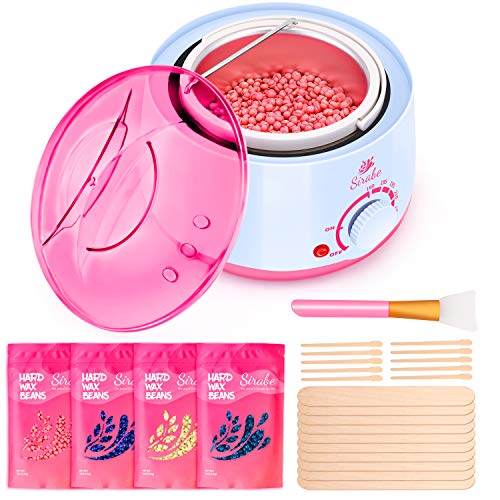 Waxing Kit Wax Warmer for Hair Removal Eyebrows, Face, Arms, Legs, Bikini, Brazilian Wax Kit 500ML Waxing Pot, 4 Flavors Stripless Hard Wax Beans, 1 Silicone and 20 Wooden Applicator Sticks