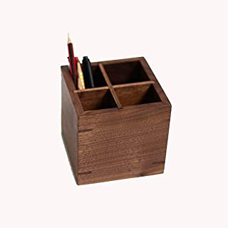 Pen Holder - Retro Wood Pen Holder, Desktop Finishing Storage Pen Holder, 4 Grid Design, Clear Classification, for Office, Business