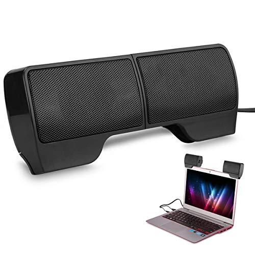 CAMPSLE Altavoces estéreo 3D para computadora portátil, Clip para computadora en 2 Altavoces Barra de Sonido Mini Barra de Sonido con Cable USB Externa para PC de Escritorio Tabletas TV Teléfono MP3