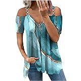 WANGXIYAN Summer Women Cold Shoulder Tops Fashion Sexy Loose Fit Short Sleeve Zipper Printing Strapless Long Tunic Blouse Blue