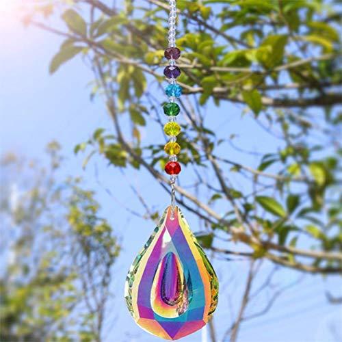 Kylewo Sonnenfänger mit Kristallanhängern fürs Fenster, Kristall Regenbogen Ornamente Fenster Sonnenfänger Regenbogenmacher hängen Glas Kugelprisma(Longan-Form)