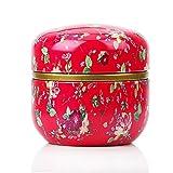 XGQ HOOMIN Caja de té Tarro de té Soporte de Almacenamiento Caddie de té Matcha Contenedor Mini café en Polvo Organizador Latas Multifunción Redondo Metal, Color: Florido