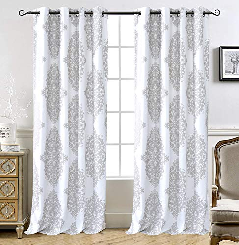 DriftAway Asher Medallion European Floral Energy Saving Thermal Insulated Blackout Lined Window Curtain 2 Panels for Living Room Bedroom 52 Inch by 84 Inch Gray