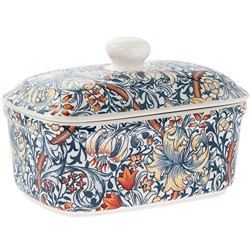 Lesser & Pavey - Portaburro in ceramica con coperchio con motivo giglio dorato William Morris