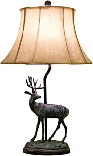 Nightstand Table Lamp Retro Table Lamp Creative Romantic Elk Shape Bedside Table Lamp, Suitable for Bedroom/Living Room/Study (Color : A)
