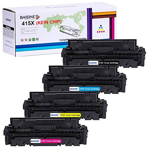 BAISINE Kompatibel KEIN CHIP HP Color Laserjet pro MFP M479fdw Toner mit HP 415X W2030X W2031X W2032X W2033X Toner für HP Color Laserjet Pro MFP M479fdw M479fdn M454dw M454 M454dn, 4-Pack