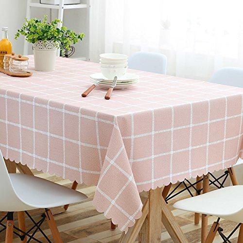 HM&DX PVC Wasserdicht Tischdecken Ölfreie Schmutzabweisend Checker Dekorationen Abdeckung-beschützer-Tuch für esszimmer Tisch Beistelltische-Rosa 120x170cm(47x67inch)