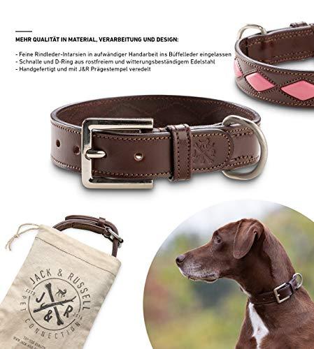 Jack & Russell hondenjoggingband met heupriem - zwart-neon groene hondenriem elastiek 1,5 m - 2,0 m - Sportband (L - halsomtrek 48,5-57,5 cm, Bruin/roze)