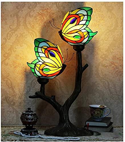 YHQKJ Tiffany Lámpara de Mesa, Sala de Estar Dormitorio de Noche lámpara de Noche, café Occidental Restaurante Club Mariposa Vidrio de Color luz Retro