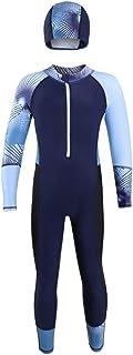 Digirlsor Kids Boys Girls One Piece Swimsuit Rash Guard Long Sleeve Wetsuit UPF 50+ Swimwear Diving Suit,3-12 Years
