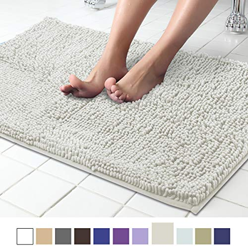 ITSOFT Non Slip Shaggy Chenille Soft Microfibers Bath Mat for Bathroom Rug Water Absorbent Carpet, Machine Washable, 21 x 34 Inches Light Gray