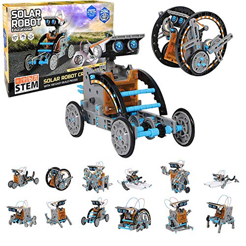 STEM Solar Robot toys Kit-12 in 1 Educational Science Building Toys Set,with 190 easy-build pieces,powered by the sun no batteries needed,DIY Robot Assembly Gift for Boys and Girls Age 8-10+ Years Old