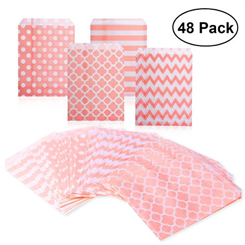 NUOLUX Treat Sacks,48pcs Wedding Candy Bar Bags Party Gift Bags Paper Bag (Pink)
