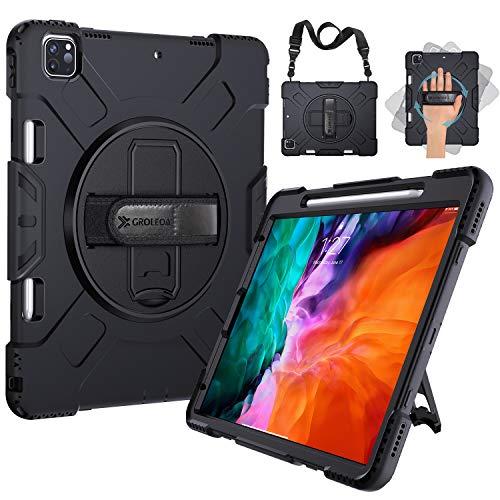 GROLEOA para Funda iPad Pro 12.9 2020/2018, Cubierta Protectora Completa a Prueba de Golpes de Tres Capa con Soporte y Correa de Mano para 2020 iPad Pro 12.9 Case 4ª generación, Negro