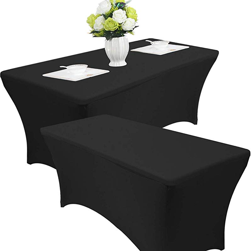 Reliancer 2 Pack 4 6 8FT Rectangular Spandex Table Cover Four Way Tight Fitted Stretch Tablecloth Table Cloth For Outdoor Party DJ Tradeshows Banquet Vendors Weddings Celebrations 2PC 8FT Black